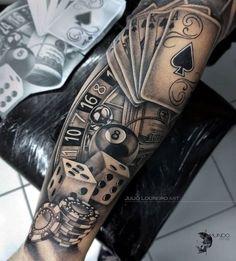 Tattoo Arm Tattoo Tattoo İdea Gambling Tattoo Arm Tattoo Custom Design Tattoo Ideas Gambling Tattoo Arm Tattoo Custom Design Tattoo Ideas Very nice black and grey realistic tattoo style of Las Vegas Casino motive done by artist Renata Jardim Tattoo Forarm Tattoos, Cool Forearm Tattoos, Hand Tattoos For Guys, Best Sleeve Tattoos, Badass Tattoos, Cool Tattoos, Tattoo Arm, Poker Tattoos, Mandala Tattoo