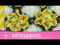 Vida com Arte | Flor amarela em crochê por Maria José - 16 de julho de 2016 - YouTube