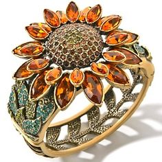 """I really wanted this to be a ring...Heidi Daus """"A Fabulous Sunflower"""" Crystal-Accented Bangle Bracelet $295.95"""