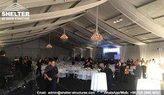 Una carpa grande en la dimensión de 20m x 45m (aproximadamente 65′ de ancho y 150′ de longitud), que cubre un total de 900 m2 permitiría a 250 a 300 invitados sentarse libremente con una mesa redonda para 10 personas.  #carpa #desmontable #venta de #carpaseconomicas #carpaselegantes para #fiestas