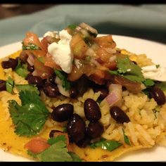 Tostadas with Cilantro Lime Rice and Fresh Salsa - Chipotle inspired Rice Too!