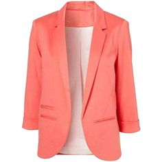 Choies Slim Blazer In Pink (£23) ❤ liked on Polyvore featuring outerwear, jackets, blazers, pink, red slim fit blazer, slim fit jacket, red blazer jacket, slim blazer and red jacket