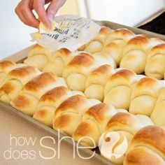 Delicious Dinner Rolls 1 cups of milk cup + 1 Tablespoon Sugar 1 egg 1 Tablespoon salt 2 Tablespoons yeast 2 cups of warm water about cups of all purpose flour at least 1 cup of butter Think Food, I Love Food, Good Food, Yummy Food, Tasty, Great Recipes, Favorite Recipes, Delicious Recipes, Dinner Recipes