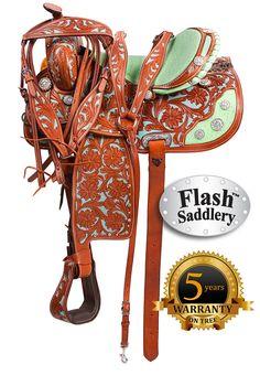 Turquoise Mint Western Barrel Saddle - #HorseTack