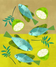 Sauteed Fish, curry leaves and some fresh lime juice - Elin Svensson aqua teal turquoise