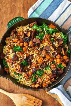 Orzo with Caramelized Fall Vegetables & Ginger.Recipe.. This quick and easy vegetarian dinner is perfect for pasta lovers and anyone trying to eat more veggies. Perfect healthy cold weather comfort food for fall, loaded with sweet potatoes, orzo, onions, garlic, shiitake mushrooms, and swiss chard or kale.
