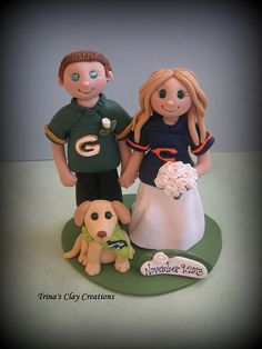 Sports Theme Wedding Cake Topper ~ By Trina's Clay Creations