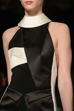 Geometric Fashion - two-tone origami dress with sharp folds & strong geometric lines; bold fashion details