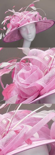 Mother of the bride hat on Etsy, candy mixed pinks medium brim hat, wedding hat, feather flower, floral headpiece, race day, Royal Ascot, Kentucky derby, garden party. #motb #motherofthebride #weddings #ascothat #kentuckyderby #bighats #millinery #affiliatelink #fashion #racingfashion