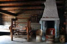 Skjaak, Norway   Interior of house from Lykre (Skjåk), Maihaugen  (note the old floor loom probably used to make rugs and bed coverlets)
