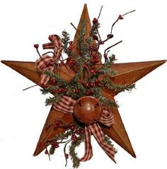 : Primitive Rusted Barn Star Decorated with Pine Sprays, Pip Berries, Rusty Tin Bell & Rusty Tin Stars: Home & Kitchen