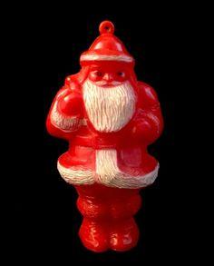 Vintage Celluloid Painted Plastic Santa Claus Christmas Tree Ornament Decoration picclick.com