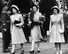 A year before her own nuptials, Princess Elizabeth, left, along with her aunt Princess Marina, Duchess of Kent, and sister Princess Margaret attended the wedding of a friend at Westminster Abbey in November 1946.