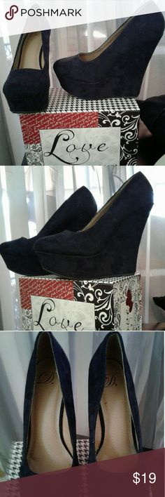 Platform wedges Black suede platform wedges. Hardly used! Great condition! Shoes Platforms