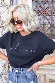 Order the Laura Jade Black Amour Slogan Tee from In The Style. Shirt Print Design, Shirt Designs, Black Tee Outfit, Laura Jade Stone, T Shirt Custom, Mrs Shirt, Slogan Tee, Tee Shirts, Printed Tees