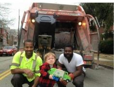 Young boy who waited all week to show the garbage men his garbage truck gets overwhelmed by the presence of his heroes.