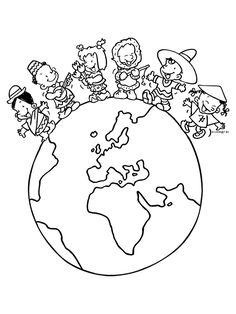 Landen om de wereldbol Around The World Theme, Celebration Around The World, Colouring Pages, Coloring Sheets, Coloring Books, World Crafts, Bible For Kids, Earth Day, Art Plastique