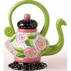 Pretty flower tea pot