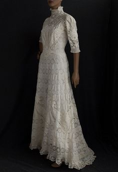 Hand-embroidered lace tea dress, c.1900