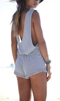 Loving this grey sleeveless backless fringe playsuit