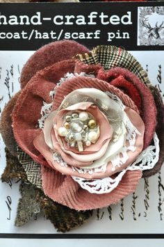 cream dusky pink rose flower corsage brooch dress pin 20s 50s vintage wedding XL