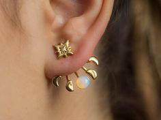 Moon Phases Ear Stud Stud Earrings gold studs earrings Moonstone Earrings, Gold Earrings, Handmade Jewelry, Unique Jewelry, Moon Phases, Ear Studs, Gold Studs, Opal, Feminine