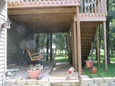 Help with space under second level deck!, Just what is a body supposed to do with the space under a second level deck? This is what visito. Under Deck Landscaping, Patio Under Decks, Decks And Porches, Deck Patio, Patio Deck Designs, Patio Design, Garden Design, Outdoor Deck Decorating, Outdoor Decor