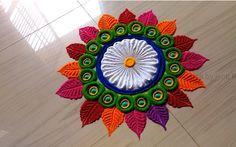 Very Easy Rangoli Design For Festival Diwali - ArtsyCraftsyDad - Vanita Hebbar - Easy Rangoli Designs Videos, Rangoli Designs Simple Diwali, Rangoli Simple, Indian Rangoli Designs, Rangoli Designs Latest, Rangoli Designs Flower, Free Hand Rangoli Design, Small Rangoli Design, Colorful Rangoli Designs