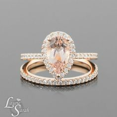 Morganite Engagement Ring from Laurie Sarah - Pear Cut Morganite Wedding Set with Diamond Wedding Band in Rose Gold - DREAM RING Morganite Engagement Ring Pear, Engagement Ring Settings, Engagement Rings, Gold Diamond Wedding Band, Wedding Ring Bands, Wedding Set, Wedding Goals, Perfect Wedding, Dream Wedding