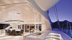 The aft deck of 'Hemisphere', the world's largest sailing catamaran recently completed by Pendennis Shipyard with interiors by Michael Leach Design