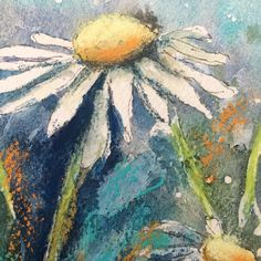 Close up of yesterday's mixed media piece - I love the textures in this created by gesso, ink, pastel & paint #allthethings  #mixedmedia #mixedmediaart #floralpainting #daisies #watercolor #watercolour #art #igartists #instaartist #instaart #artistofinstagram #britishartist #artuk #artist #somersetartist #mixedmediapainting #contemporaryart #contemporarypainting #modernart #softpastel #drawing #rosemaryandco #rosemarybrushes #doitfortheprocess