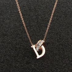 New D Letter And Crystal Annulus Interlocking Rose Gold Pendant Necklace 316 Stainless Steel High Polished Necklace For Women Rose Gold Pendant, Gold Pendant Necklace, Crystal Necklace, Silver Necklaces, Silver Rings, Single Diamond Necklace, Diamond Solitaire Necklace, Accesorios Casual, White Gold Diamonds