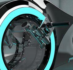 Modélisation 3D Cinema 4D de la moto Tron: le guidon en gros plan