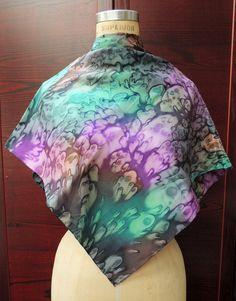 Silk Vintage Scarf: Hand dyed Purple Teal by IndigoStudioVintage #epsteam