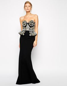 Image 1 of Forever Unique Venessa Maxi dress with Embellished Peplum Bodice