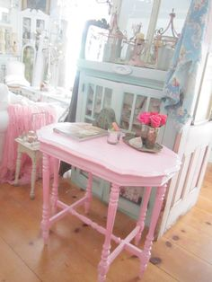 Vintage table table chippypink  painted shabby chic prairie cottage chic by…
