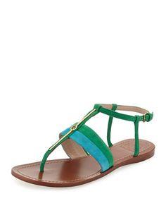 Suede Logo Bar Thong Sandal, Bermuda Teal/Emerald by Tory Burch at Neiman Marcus.
