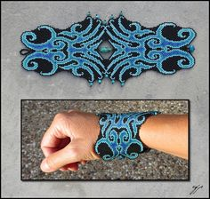 "Blue Squid by Ellygator(2013) 9""x 3"", Size 15 seed beads (matte black, silver-lined seafoam opal, silver-lined turquoise, transparent blue AB) chrysocolla beads, Fireline.  This pattern reminds me of two squid facing off with their tentacles touching. Oh, and I am all over the color progression here, from deep rich blue to light and silvery opalescent sea-foam green. The chrysocolla beads nicely pick up on the whole spectrum of hues."