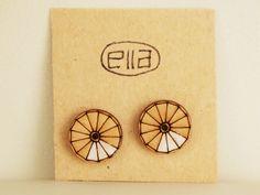 WOODEN STUD EARRING Segment laser cut wood jewelry (laser cut earrings white) by ellamademe on Etsy