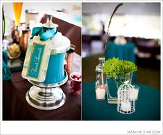Love the color scheme and the tiny birdcage #peacockwedding