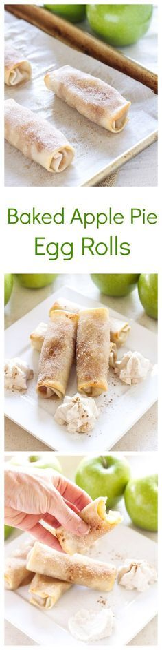Baked Apple Pie Egg Rolls - a fun dessert with homemade apple pie filling, egg rolls and cinnamon whipped cream!