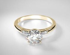 Petite Three Stone Baguette Diamond Engagement Ring 18KT Yellow Gold - Classic three stone diamond setting with accenting baguette side stones - From Four Mine