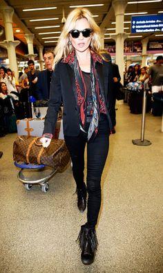On Moss: Saint Laurent blazer; Isabel Marant belt; Louis Vuitton bag.