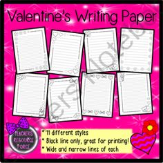 Valentines Writing Paper - wide & narrow black line, ideal for printing! from Teachers Resource Force on TeachersNotebook.com -  (22 pages)  - This Valentine's Writing Paper set comes in narrow and wide lines, 11 different styles in black line art, perfect for budget printing! Why waste unnecessary ink when half the fun is coloring anyway! The graphics on these resources come with cute flow