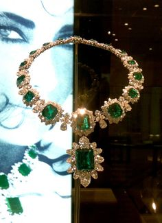 Elizabeth Taylor's Platinum and Emerald Necklace by Bulgari. The Pendant is attached to the necklace.