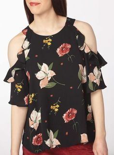 Petite Black Floral Cold Shoulder Top
