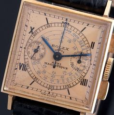 Rolex Rose Gold Square Chronograph Wristwatch Ref 3529 circa 1938 Amazing Watches, Beautiful Watches, Cool Watches, Watches For Men, Antique Watches, Vintage Watches, Rolex Wrist Watch, Wrist Watches, Luxury Watches
