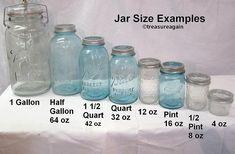 Ball Mason Jar Sizes Comparison to do when bored crafts jar crafts crafts Vintage Mason Jars, Blue Mason Jars, Mason Jar Flowers, Bottles And Jars, Glass Jars, Half Gallon Mason Jars, Kerr Mason Jars, Quart Jar, Vintage Dishes