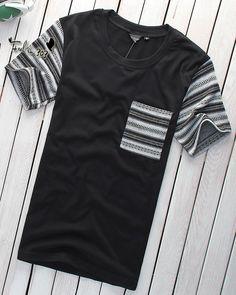 Men Summer Fashion Short Sleeve Color Blocking Scoop Black Cotton T-Shirt M/L/XL@S0T213-1b, men's wear, kpop fashion, kfashion, korea, asian fashion, asia, guy's wear, boy, man's wear, korean