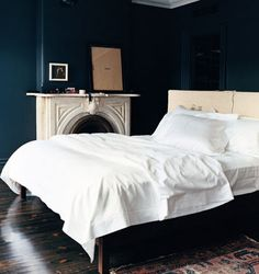 Farrow Ball Hague Blue Paint Dark Bedroom
